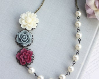 Creamy White Ivory, Grey Maroon Red and Ivory Pearls Necklace, Rustic Flowers Pearls Necklace. Bridesmaid Gifts. Maroon and Grey Wedding,