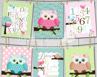 Set of 6 Sweet Little Owl Personalized Name Alphabet Numbers Meaning Girls Bedroom Baby Nursery 8x10 Wall ART Prints