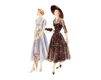 40s Vogue Dress Pattern 6757, Full Skirt, V Neck, Gathered Bodice, Sleeve Variations, Bust 34, Elegant 1940s Day Evening Dress