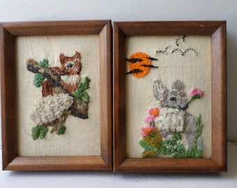 Vintage Handmade Charming Embroided Wall Hanger Framed Set of Two Squirrel Bonny on Canvas