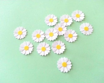 24 Medium 2-tier WEDDING WHITE Daisy Paper Punch / Die Cut / Embellishments / Table Scatter - 1 inch wide