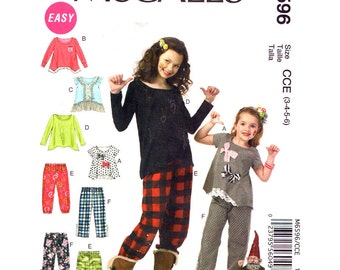 Girls Top & Pants Pattern McCalls 6596 Easy Pullover Flared Top Shaped Hemline Pull-On Pants Girls Sewing Pattern Size 3 4 5 6 UNCUT