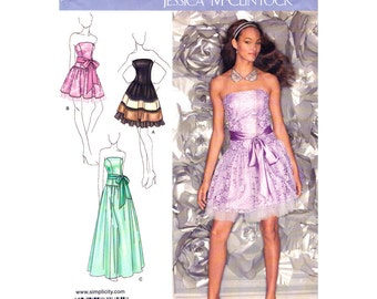 Strapless Dress Pattern Drop Waist Dress Simplicity 1655 Flared Prom Gown Mini Maxi Dress Womens Sewing Pattern Size 14 to 22 UNCUT