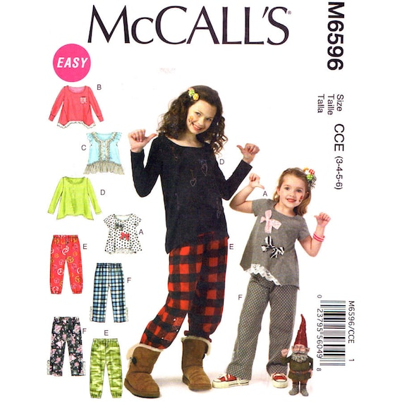 Girls Flared Top Shaped Hem, Pull-On Pants Sewing Pattern McCalls 6596 Size 3 4 5 6