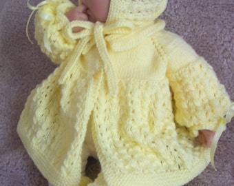 Custom handmade knit baby boy or Girl or Reborn Doll Yellow Sweater Bonnet cap hat booties - 0-12M-  Baby Gift or for Photos - Ready To Ship