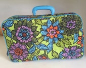 Vintage 60s Over Night Floral Luggage, Blue Groovy Small Suitcase, Bright And Colorful Mini Suitcase