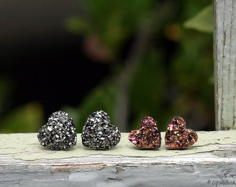 2 Pair Set Glitter Heart Stud Earrings, 12mm in Dark Silver Metallic, 10mm in Pink Gold and Black Multi, Titanium or Stainless Steel Posts