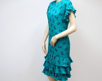 Dress Vintage Dress 1980s Silk Adrianna Papell Turquoise Wiggle Womens Dress Size 4 Wiggle Ruffle Dress