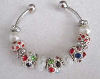 Lollipops and Gumdrops Euro Bracelet - Multi-Colored Jewel Crystal Balls - Red Crystal and AB Euro Beads