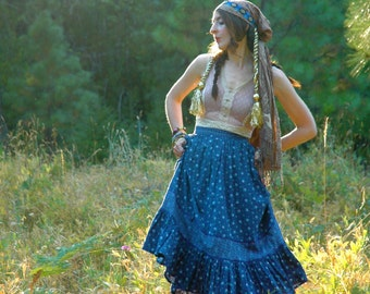 S A L E....Gunne Sax Style Prairie Skirt... Adorable Boho Maxi Skirt... BLUE BELLE... 26 Inch Waist