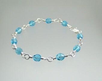 March Birthstone Bracelet Aquamarine Blue