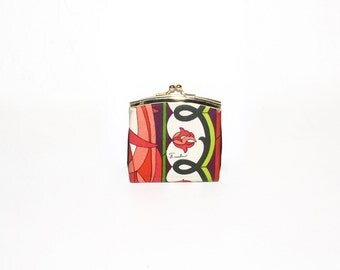 EMILIO PUCCI Vintage Silk Coin Purse Leather Lined Kisslock Wallet - AUTHENTIC -