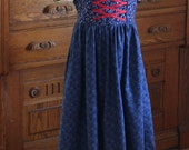 Gretel's Peasant Outfit in Blue and Red Sizes 2-12 Dirndl European Folk Dress