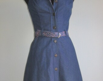 SALE 70s denim vtg dress xs