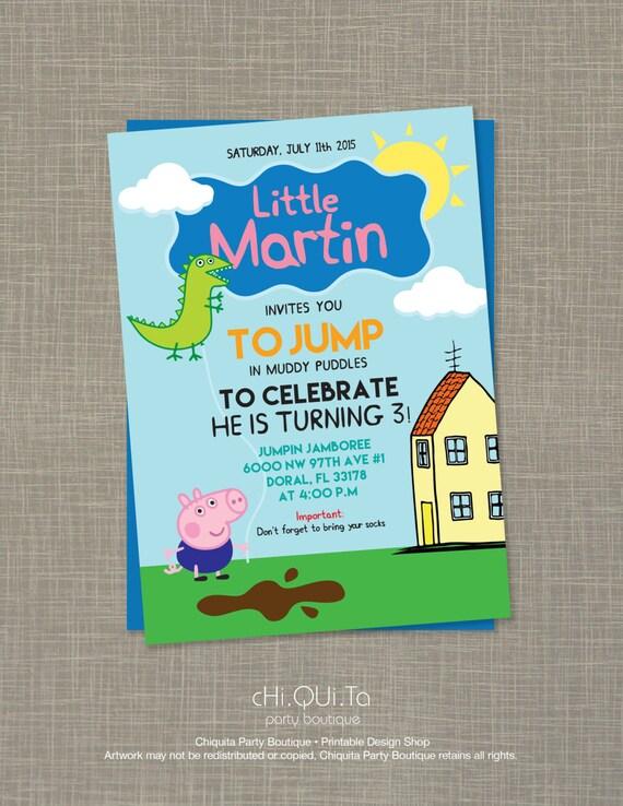Printable Little George Pig Birthday Party Invitation PDF by – Pig Birthday Party Invitations