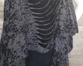 Grey and Black shredded Speckled Burnout Infinite Scarf, long flowy vest, poncho, top