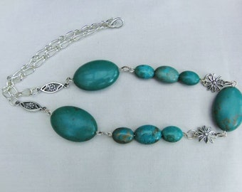Turquoise Oval Bead and Silver Plated Flower and Chain Necklace, Jewellery, Gift, Birthday, Christmas, Anniversary, Handmade, Accessories