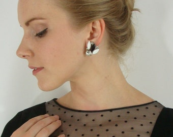 SALE Vintage Black and White Jeweled Clip on Earrings