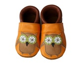 Leather Baby Booties, Baby Shoes, Owl Shoes, Orange Brown Infant Newborn Nursery Children Owl