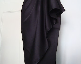1950s Style Cocktail skirt, Dramatic Black Side Drape Skirt, Hollywood Glamour, Asymetrical Skirt, sizes XS-XL or custom made in your size