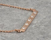 14k, 18k Solid Rose Gold Bar Necklace with Diamonds or Moissanite