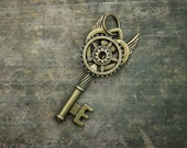 Steampunk Angel Key Pendant Necklace