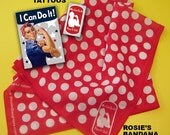 RtR-1.  Bandana - Rosie the Riveter Authentic Style Red/White Polka Dot Legacy Bandana. Rock Every Occasion with a Rosie the Riveter Scarf