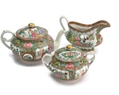 Chinese Porcelain Tea Set / Antique Rose Medallion / Hand Painted / 3 Pieces with Lids / Tea Party Set / Wedding Gift Idea / c1920s