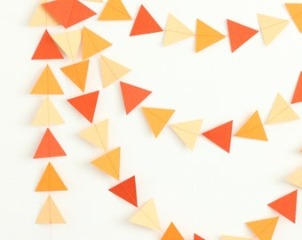 Orange Ombre Geometric Triangle Arrow Sewn Paper Garland Banner - Party Garland, Baby or Bridal Shower Banner, Wedding Decor, Photo Backdrop