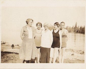 The Kids in Their Swimsuits- 1920s Vintage Photograph- Bathing Suits- Roaring 20s- Flapper Photo- Vancouver, Canada- Paper Ephemera