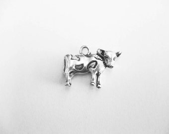 8 Cow Charms in Silver Tone - C2197