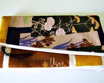 Foldover clutch/ Linen/ color block/ rare vintage fabrics/ diagonal clutch bag/ Vera/ mod clutch