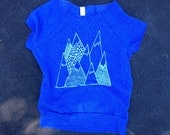Mountains Cutoff Sweatshirt, Yoga Top, Hiking Shirt, Gym Shirt, S,M,L,XL