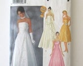 2000s Wedding & Bridesmaid Dress Pattern, Simplicity 7068 Womens Strapless Princess Seams Formal Evening Prom Dress Size 14-20 UNCUT