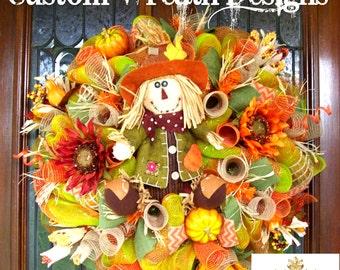Lavish Fall Scarecrow Wreath