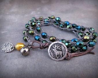 Wrap Bracelet, Rustic teal, Bohemian Crochet Jewelry, Woodland, Boho Chic