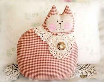 Large Cat Pillow Doll, Cloth Doll 9.5 inch, Brick Red Check Decor Fabric,Handmade Soft Sculpture CharlotteStyle Decorative Folk Art