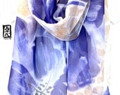 Large Silk Scarf Hand Painted, Silk Chiffon Scarf, Silk Scarves Takuyo, Blue Purple and Beige Watercolor Peonies Scarf, 14x72 inches.