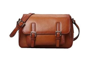 Brown genuine leather messenger bag / brown leather satchel bag / brown buckle bag / brown leather bag / brown leather purse / brown bag
