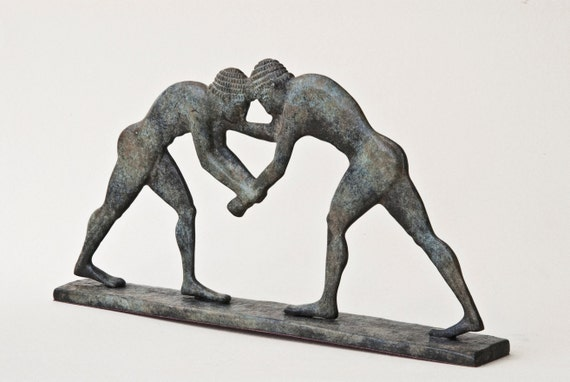 Wrestling Sculpture Bronze Greek Athletes Statue Ancient