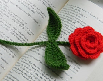 Crochet Rose Bookmark, Beauty and The Beast Rose, Flower Bookmark, Book Lover Gift, Gardener Gift, Teacher Appreciate Gift, Crochet Rose