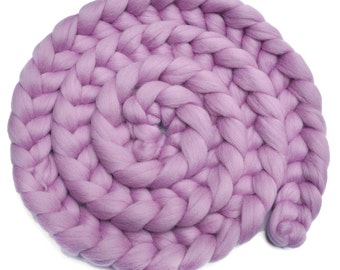 Newborn Photo Prop - Dyed Corriedale wool posing braid - Kiss of Lavender - 8 ounces