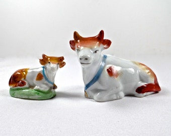 19thC Staffordshire Miniature Cows