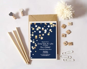 Instant Download - Under the Stars - Glitter Gold Stars against a Night Sky - Shower, Birthday, Engagement Party Invitation