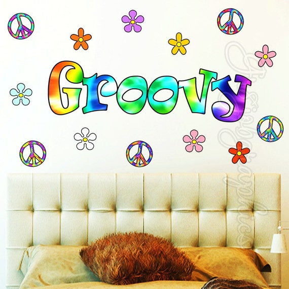 Retro Flowers Wall Decal Love Peace Sign Hippie Groovy Wall