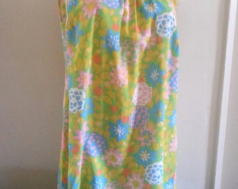 lightweight bright floral swing dress vintage 60s