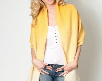 Yellow wool shawl wrap, Merino large scarf, Dip dye Ombre Mustard pashmina, Textured Blanket scarf