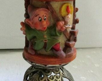 German Wax Pillar Candle Handmade Disneyana Exclusive Design Seven Dwarfs Dopey