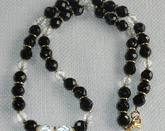 CLEARANCE A+ Grade Black Onyx & Quartz Crystal Necklace Diamond Clear Dazzling QUARTZ with Sparkling GEMSTONES Power Energy Clarity