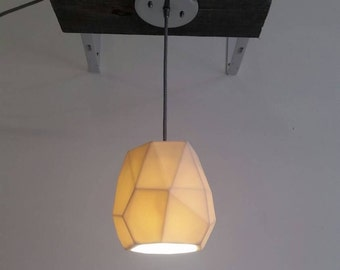 Geometric Pendant Light, Translucent Porcelain, Modern Lighting, Choose your cord and canopy color